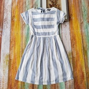 NWT Roolee Blue Striped Pocket Midi Dress L